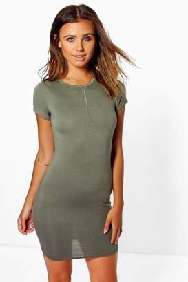 boohoo Petite Cap Sleeve Mini Bodycon Dress