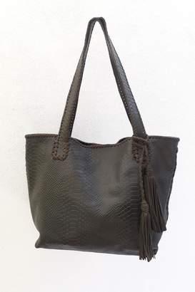 Areias Leather Snake-Print Tote Bag