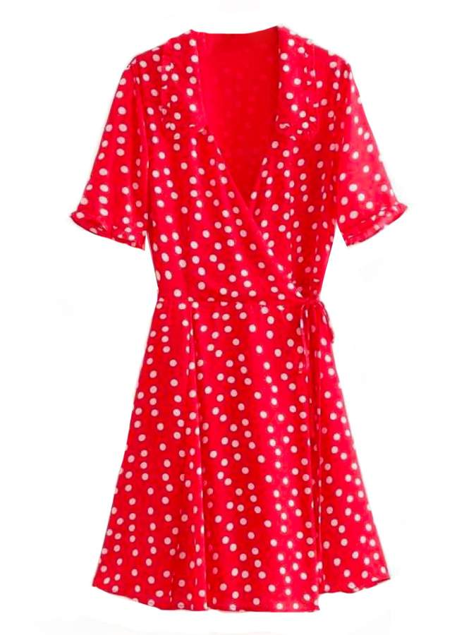 Goodnight Macaroon 'Harley' Polka Dot Flare Wrap Dress (2 Colors)