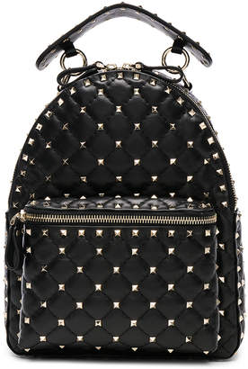 Valentino Small Rockstud Spike Backpack in Black | FWRD