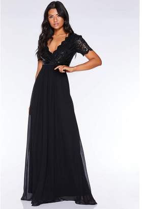 Quiz Black Sequin Scallop Cap Sleeve Maxi Dress