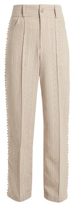 Art School - Blow Crystal Embellished Wide Leg Cotton Trousers - Womens - Grey Multi