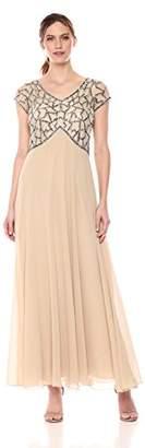 J Kara Women's Short Sleeve Geo Long Beaded Gown