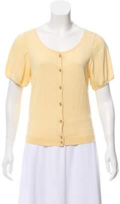 White + Warren Short Sleeve Rib Knit Cardigan