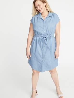 Old Navy Chambray Cinch-Tie Plus-Size No-Peek Shirt Dress
