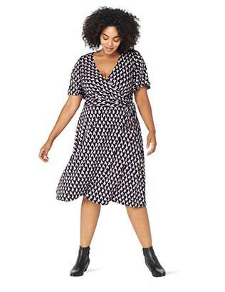 Donna Morgan Women's Plus Size Faux Wrap Jersey Dress