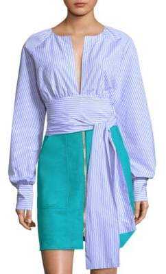 Diane von Furstenberg Striped Plungle Self-Tie Blouse