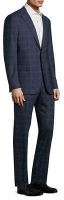 Boglioli Men's Alton Windowpane Wool Suit - Navy - Size 58 (48) R