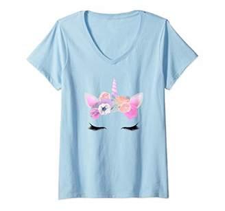 Womens Unicorn Long Eyelashes Horn Flowers Party Gift Unicorns V-Neck T-Shirt