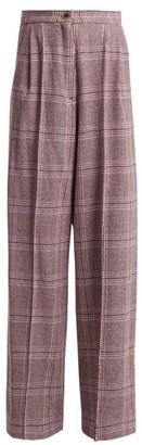 Natasha Zinko High Rise Wool Blend Tartan Trousers - Womens - Grey Multi
