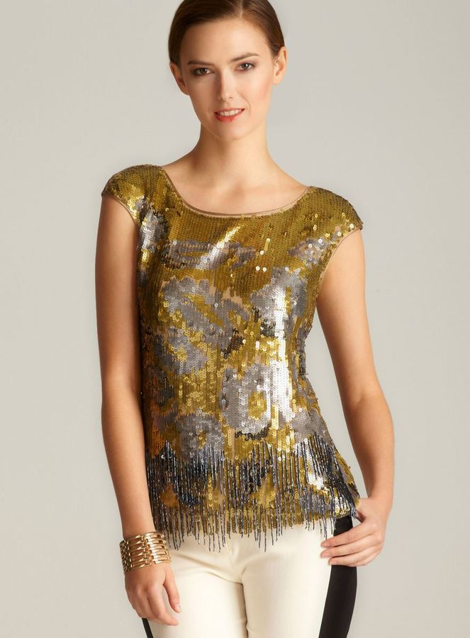 Magaschoni Abstract Gold Tipped Blouse