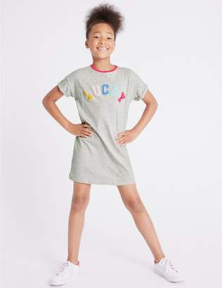 Marks and Spencer Cotton T-Shirt Dress with Stretch (3-16 Years)