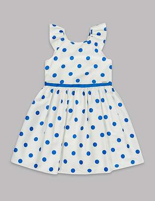 Marks and Spencer Spotted Pure Cotton Dress (3-16 Years)
