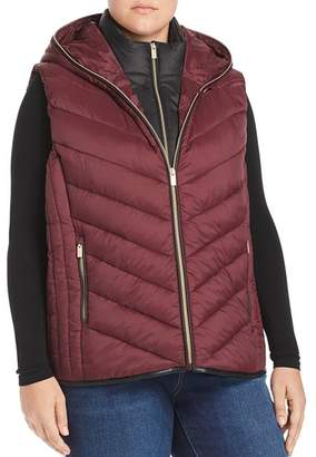Andrew Marc Plus Layered Front Hooded Puffer Vest