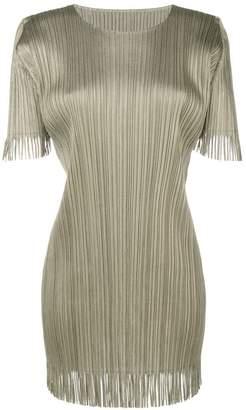 Pleats Please Issey Miyake fitted fringe emebellished dress