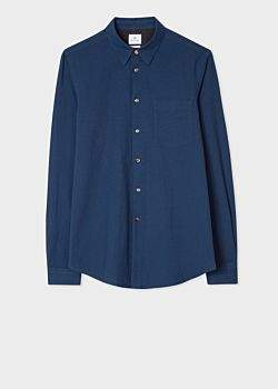 Paul Smith Men's Tailored-Fit Navy Cotton Shirt With Contrast Cuff Linings