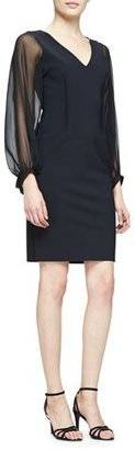 Rickie Freeman for Teri Jon Long-Sheer-Sleeve Sheath Cocktail Dress $460 thestylecure.com