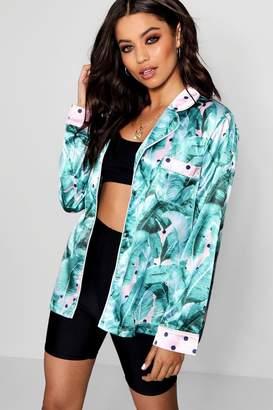 boohoo Leaf Polka Dot Print Shirt Jacket