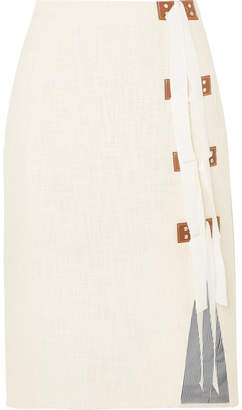 Altuzarra Sorbonne Grosgrain And Leather-trimmed Cotton-tweed Skirt - Off-white