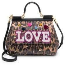 Dolce & Gabbana Embellished Leopard Print Leather Top-Handle Bag