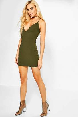 boohoo Cara Strappy Plunge Neck Bodycon Dress
