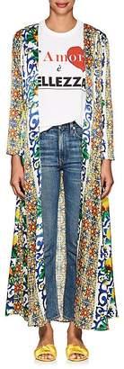 WE ARE LEONE Women's Amalfi-Print Silk Maxi Cardigan