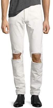 Saint Laurent Stone-Wash Blowout-Knee Straight-Leg Jeans, Off White