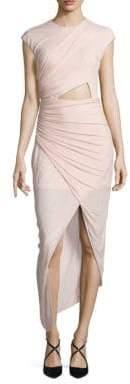 Halston Ruched Asymmetrical Jersey Dress