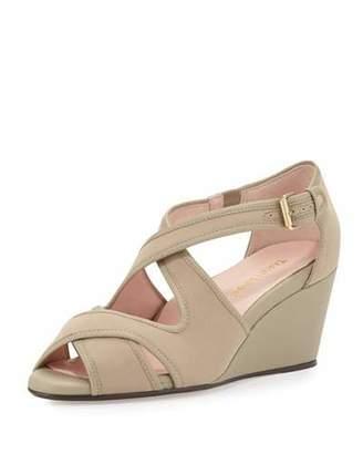 Taryn Rose Kinza Crisscross Wedge Sandal, Natural $239 thestylecure.com