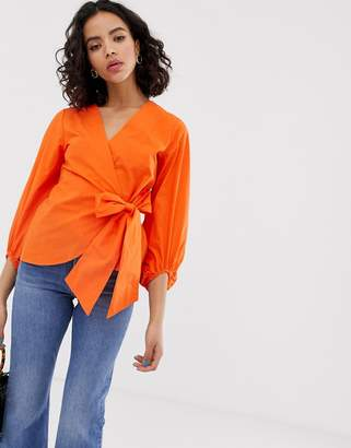 Warehouse wrap blouse in orange