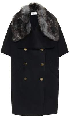 Coach Shearling-trimmed wool cape