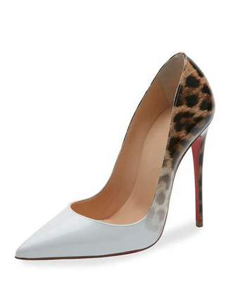 Christian Louboutin So Kate Degrade 120mm Red Sole Pump, Latte/Leopard $745 thestylecure.com