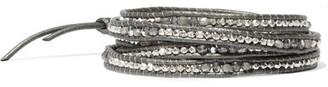 Chan Luu - Leather, Silver, Labradorite And Swarovski Crystal Wrap Bracelet - Anthracite $245 thestylecure.com