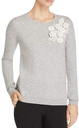 Badgley Mischka Floral-Appliqué Cashmere Sweater