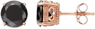 Sophie Miller 14k Rose Gold Plated Black Cubic Zirconia Stud Earrings