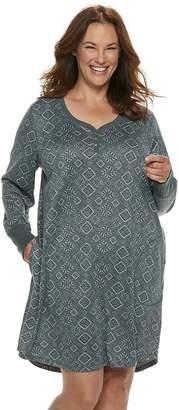 Croft & Barrow Plus Size Henley Sleepshirt