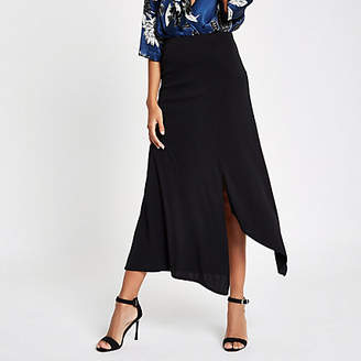 River Island Womens Black jersey midi skirt