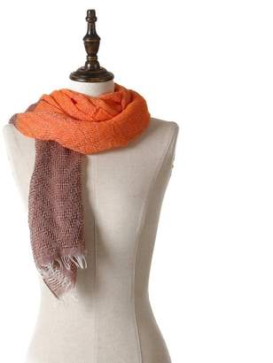 Natural feelings Women's Simple Soft Lightweight Dual Tone Polyester Scarf Shawl, Orange/Brown