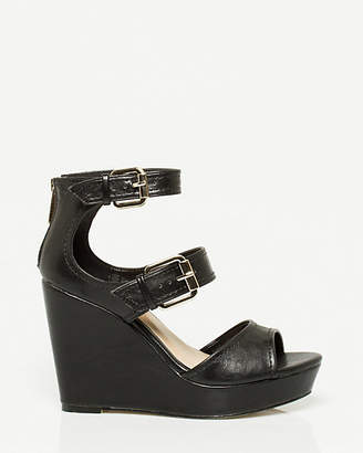 Le Château Leather-Like Peep Toe Wedge