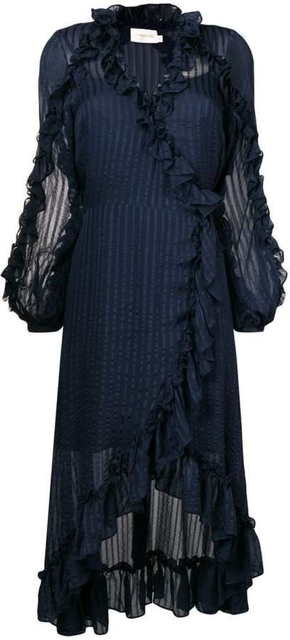 ruffled trim wrap dress