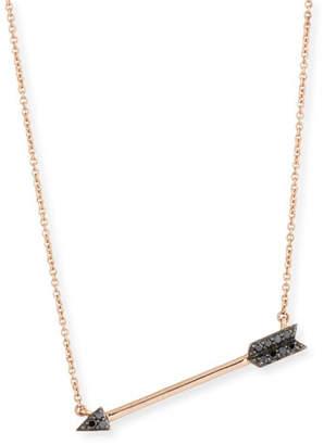 Sydney Evan 14k Rose Gold Arrow Pendant Necklace w/ Black Diamonds