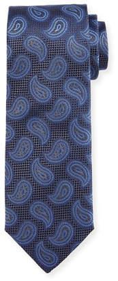 Canali Paisley Pines Silk Tie, Gray/Blue