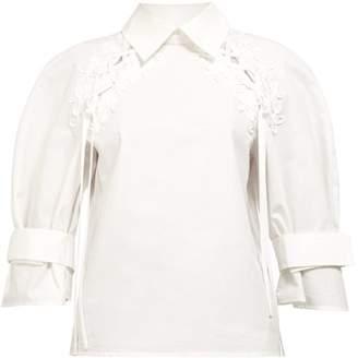 Fendi Lace Belted Sleeve Cotton Poplin Shirt - Womens - White