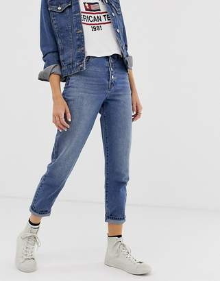 Only button detail straight leg jeans