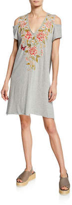 Johnny Was Plus Size Cecile V-Neck Cold-Shoulder Jersey Tunic Dress w/ Embroidery