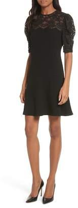 Rebecca Taylor Lace & Crepe A-Line Dress