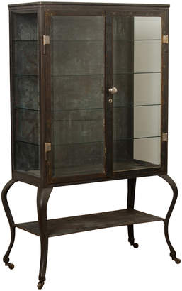 Rejuvenation Enormous Steel and Glass Medical Cabinet w/ Cabriole Legs