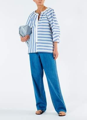 Tibi Vivian Stripe Tie Neck Top