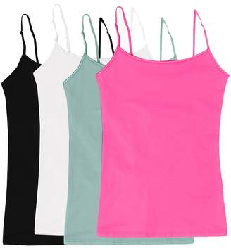 Simlu Women's Camisole Built-in Shelf Bra Adjustable Spaghetti Straps Tank Top Pack 4 Pk Black White Charcoal S Teal