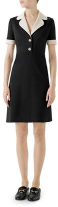 Gucci Short-Sleeve A-Line Jersey Dress w/ Contrast Trim